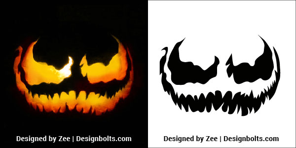 5 Free Trendy Scary Halloween Pumpkin Carving Stencils, Patterns