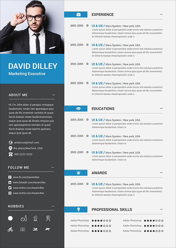 professional cv template with photo free download
