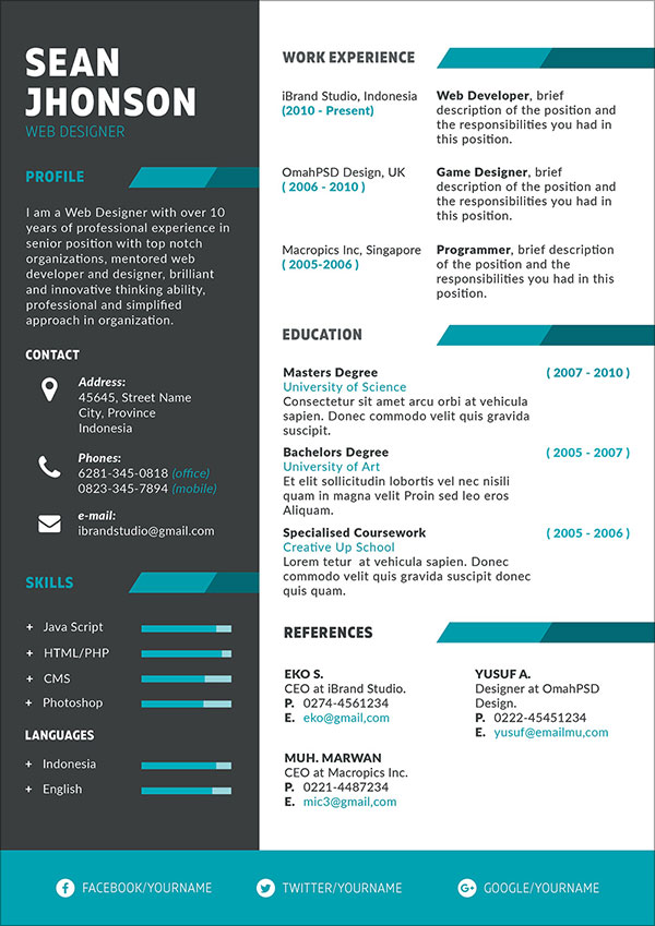 game design resume template