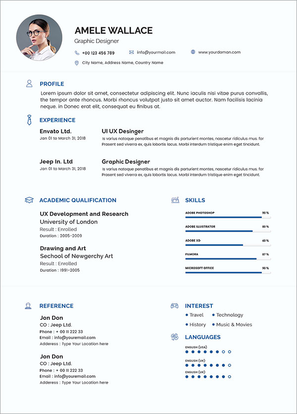 50 Free Resume/ CV Template In Photoshop PSD Format For Graphic