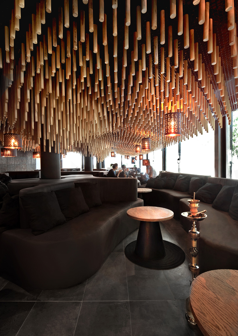 3d Fall Ceiling Wallpaper Parametric And Oriental Meet Together In Hookah Bar By