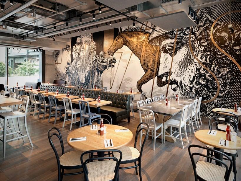 beef & liberty restaurant in hong kong features wall art