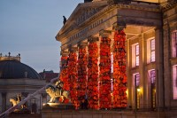 ai weiwei wraps berlin's konzerthaus with 14,000 life jackets