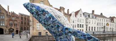whale made from 5 tons of plastic waste breaches bruges canal