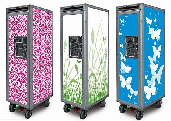 Bordbar recycled airplane trolleys