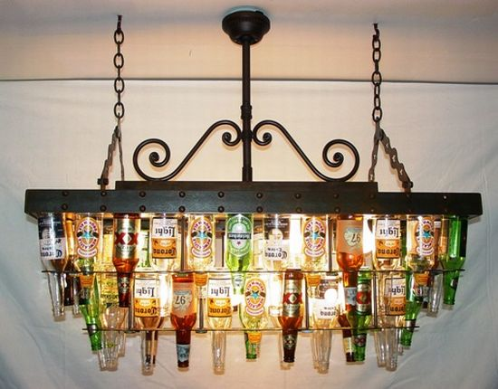 beer bottle chandelier
