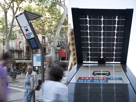 psi solar powered information bus stop