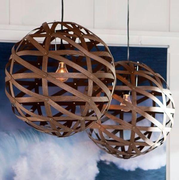 Wood veneer pendant lights