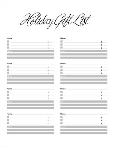 christmas gift lists templates - Minimfagency