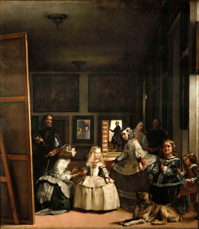 As Meninas, 1656. À esquerda do quadro, encontra-se o pintor diante de uma grande tela; acredita-se que este é o melhor autorretrato de Diego Velázquez.