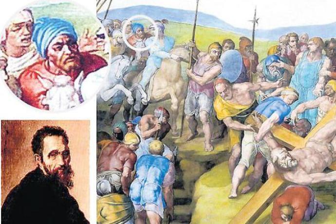 A Crucificação de São Pedro, pintada entre 1545 a 1550. Michelangelo está representado no homem de turbante azul que aparece montado em um cavalo, no topo esquerdo da pintura.