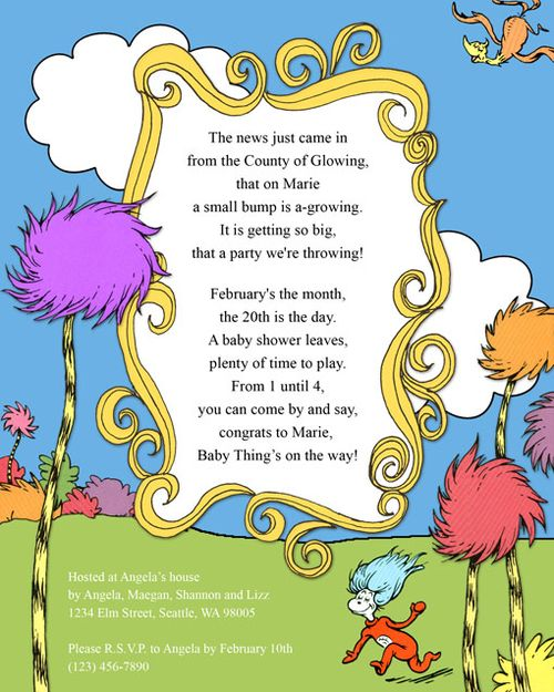 Dr Seuss Baby Shower Invitations Oh The by AmandasCreativity Dr - best of invitation wording graduation