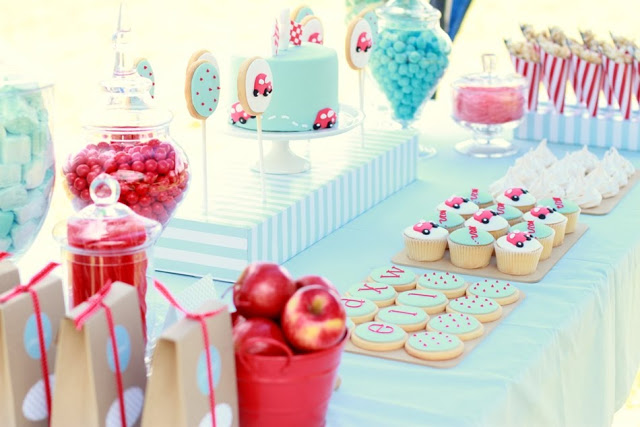 Aqua  Red Car Party! - Design Dazzle - birthday party design
