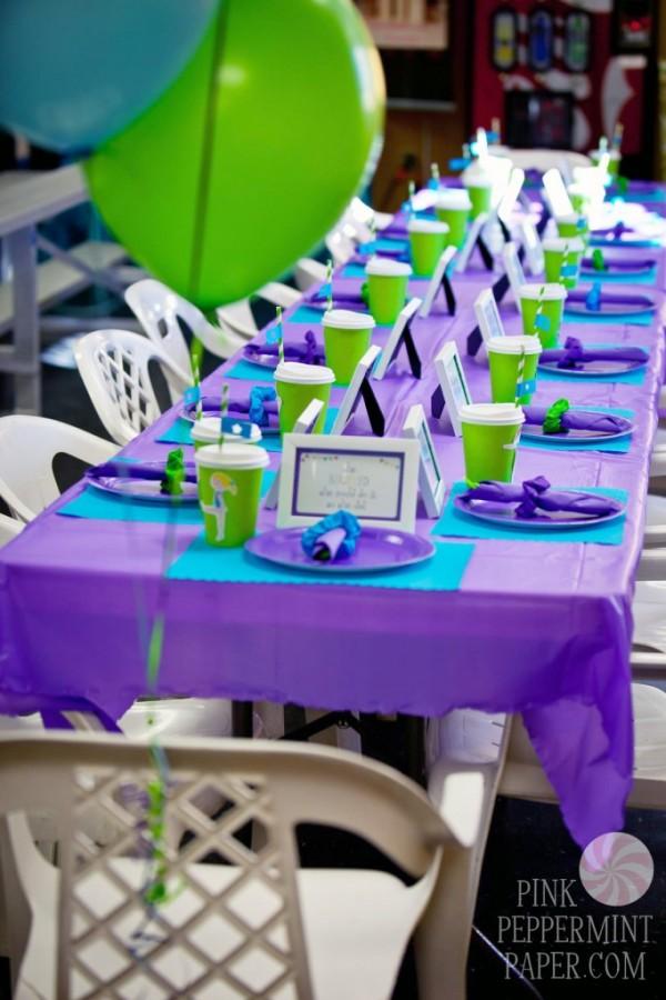 Gymnastics Birthday Party - blue and green birthday party