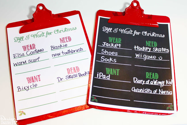 All I Want for Christmas Wish Lists - Design Dazzle - Kids Christmas List Template