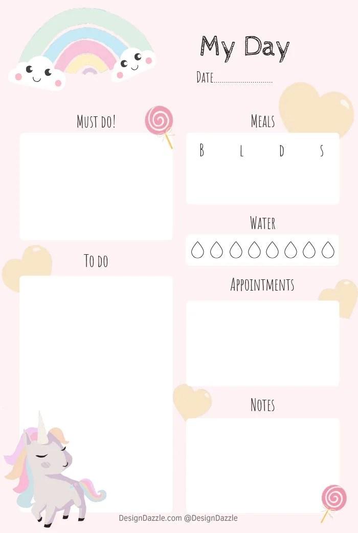 Unicorn Planner Free Printable - Design Dazzle
