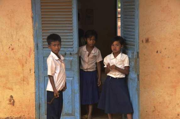 Hanging around the school door , Cambodia