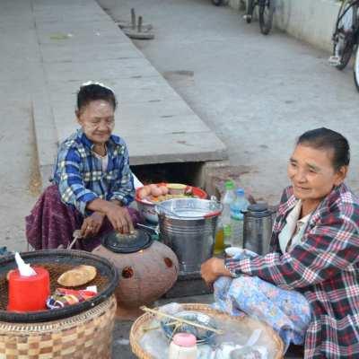 Selling breakfast in Mandalay