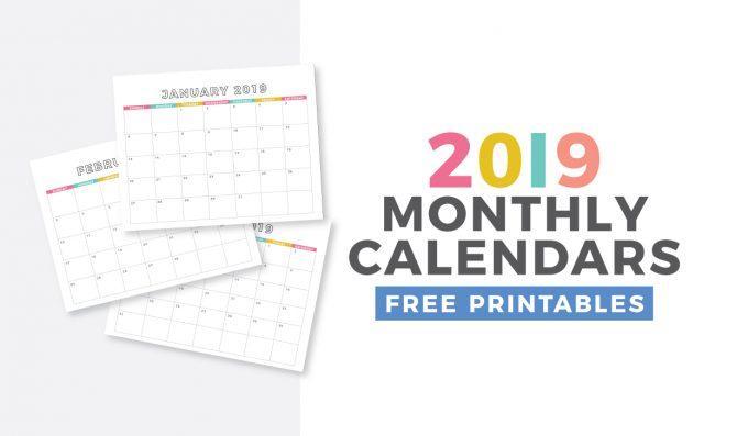Free 2019 Monthly Calendar Printable - Design Eat Repeat