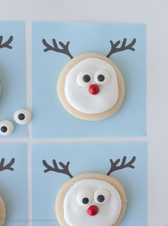 Christmas Cookie Cake Decorating Ideas : Decorated Reindeer Cookies + A Free Printable!