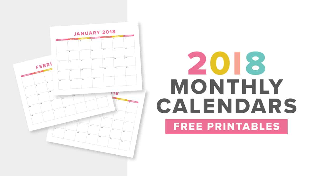 Cute  Colorful Free Printable 2018 Monthly Calendar - free printable monthly calendar