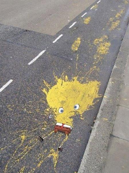 street art spongebob