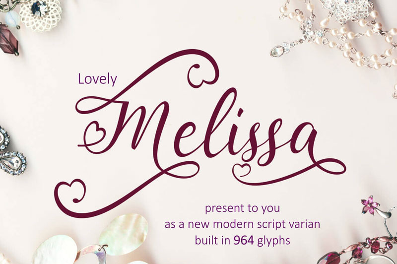 Lovely Melissa, a Modern Script Font Including 964 glyphs \u2013 only $7