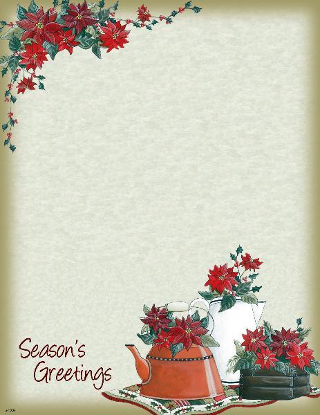 Poinsettias Holiday Letterhead - 25 Count PCS1004  Designer