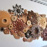 Layered wooden sculptures by Joshua Abarbanel