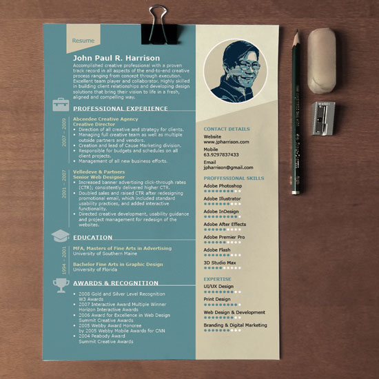 Free 1-page InDesign Resume Template Designfreebies - indesign resume templates