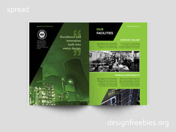 Free Black and Green Company Profile InDesign Template Designfreebies