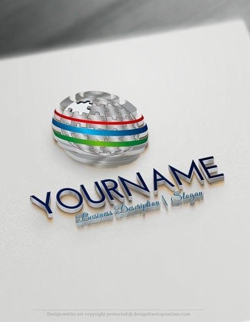 Design Free Logo Online 3D Puzzle Globe Logo maker