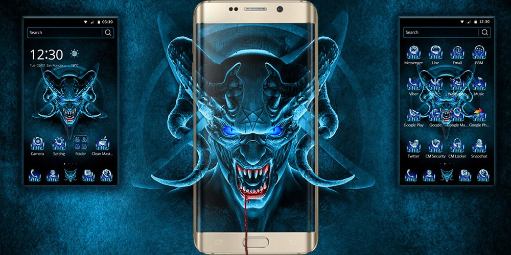 Cm Launcher 3d Wallpaper Download Horror Evil Blue Skull