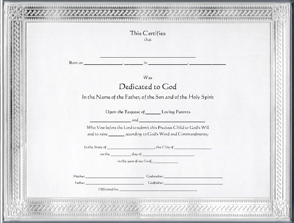 Baby Dedication Certificates Printable - Best Design Sertificate 2018
