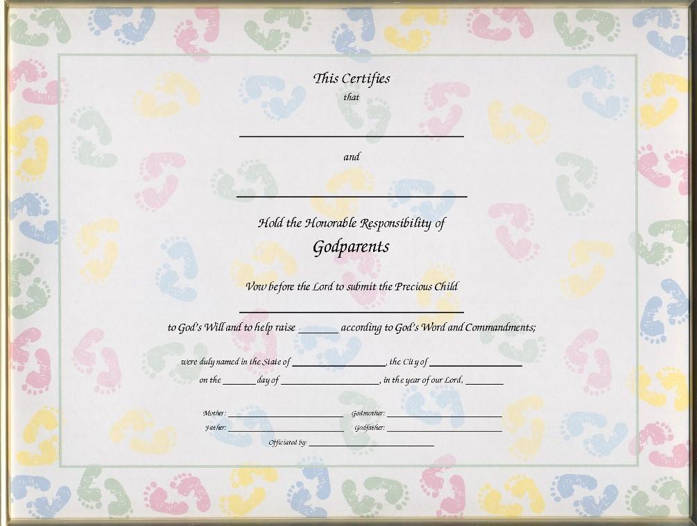 Exelent Godparent Certificate Template Motif - Resume Ideas