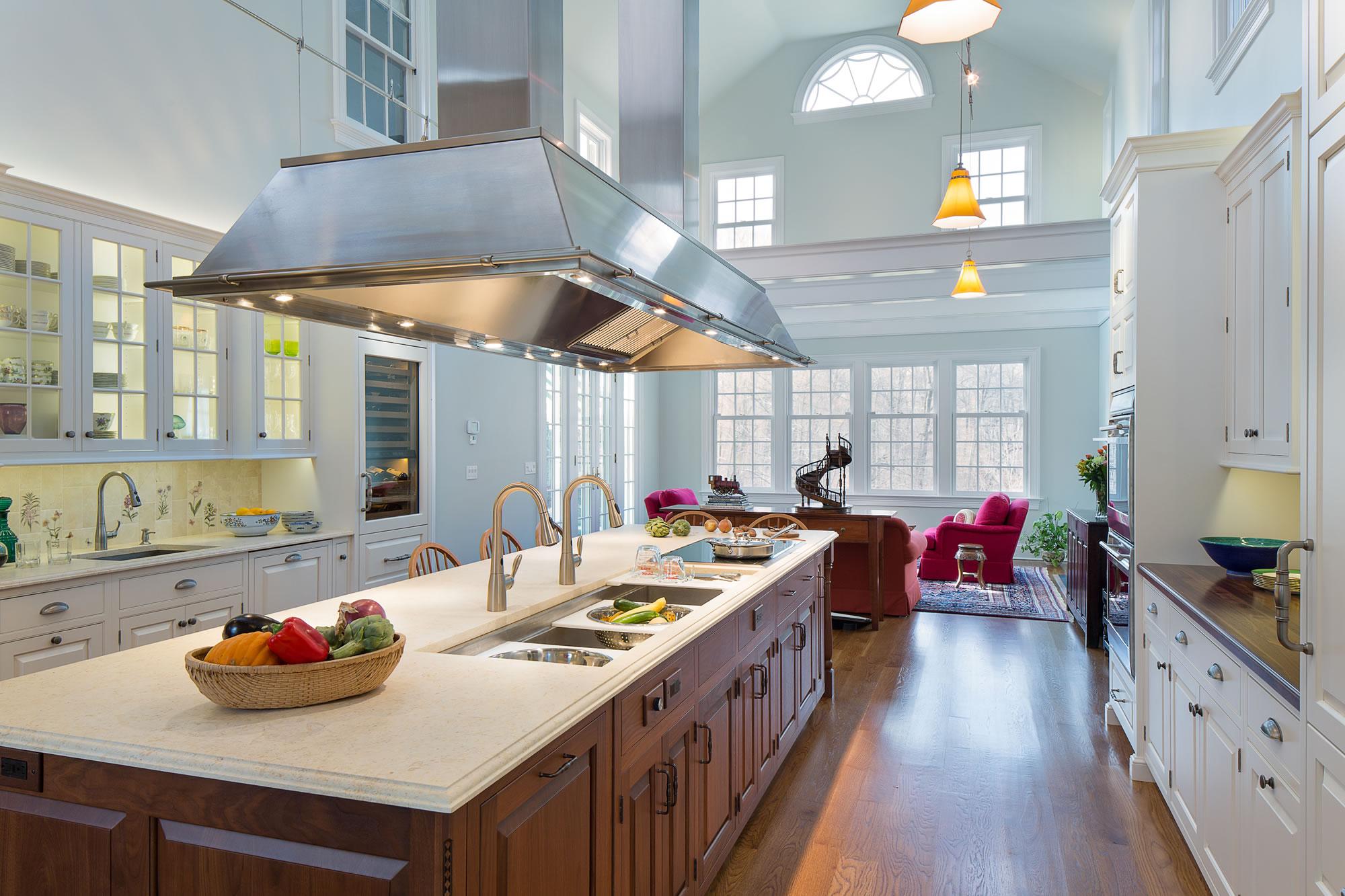 designsforlivingvt designer kitchens Lofty Connecticut Kitchen Remodel embraces natural light works for family