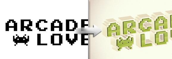 Retro 3D Arcade Text Effect