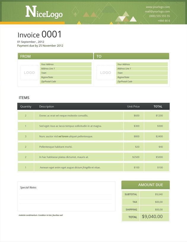 Invoice templates - invoice form free