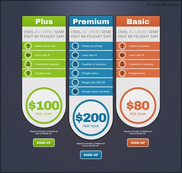 Pricing Tables - pricing table templates