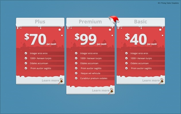 Pricing Tables - price list design template