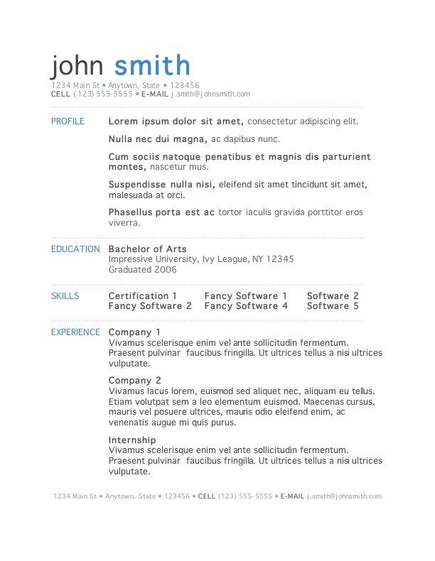 Resume Template Word - Download Free Resume Template for Microsoft Word - resume template in word