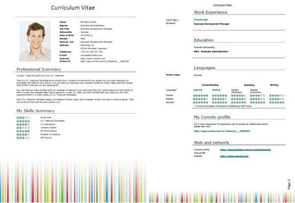 Resume Template Word - Download Free Resume Template for Microsoft Word - Ms Word Resume Templates