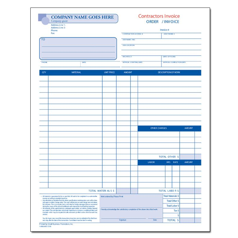 Product Details DesignsnPrint - Contractor Invoice Form