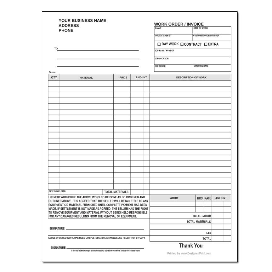Carbonless Work Order Forms Customized DesignsnPrint