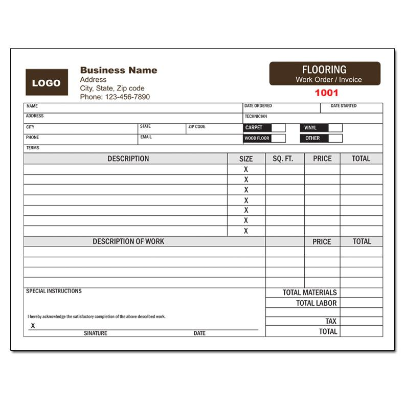 Business Forms - Custom Printing DesignsnPrint - Contractor Invoice Form