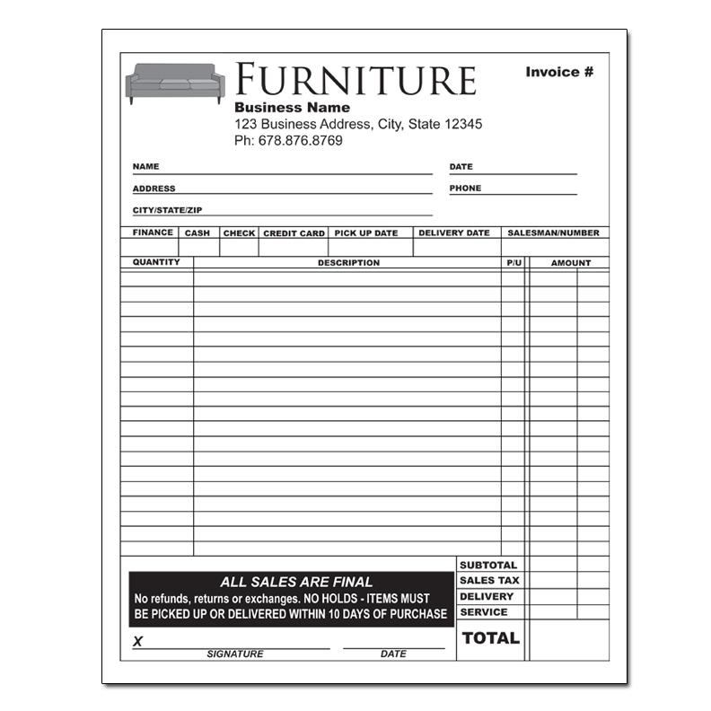 Furniture Invoice - Receipts - Retail Stores DesignsnPrint - How To Write Up An Invoice