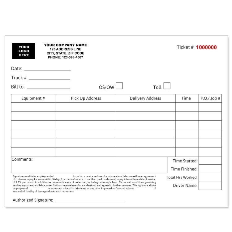 Trucking Company Invoice Tickets - Custom Carbonless Form Printing