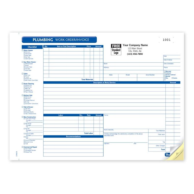 Plumbing Contractor Invoice Forms - Work Order - Custom Printing - plumbing invoice