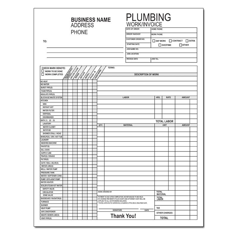 Plumbing Contractor Invoice Forms - Work Order - Custom Printing