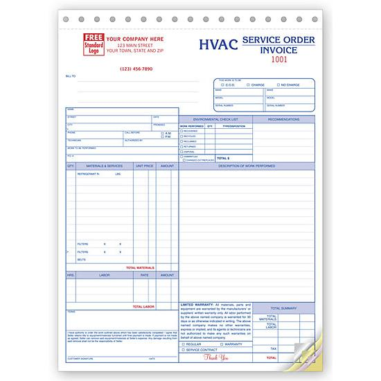 HVAC Contractor Invoice Form - Custom Form Printing DesignsnPrint